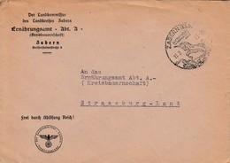 Env Frei Durch Ablösung Reich Obl ZABERN (ELS) Du 13.3.43 LUFTKURORT IN HERLICHER LAGE Adressée à Strassburg - Postmark Collection (Covers)