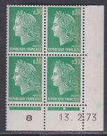 France N° 1611b  XX  Cheffer : 30 C. Vert, 1 Bde De Phos. En Bloc De 4 Coin Daté Du 13 . 2 . 73, 1 Pt Blanc, Ss Ch, TB - Coins Datés