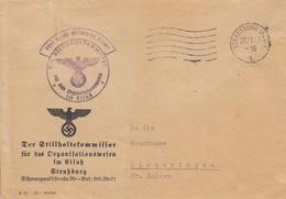 Env Frei Durch Ablösung Reich Obl OMEC STRASSBURG (ELS) 2 Du 28.11.42 Adressée à Dimeringen - Postmark Collection (Covers)