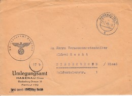 Env Frei Durch Ablösung Reich Obl HAGENAU (ELS) Du 25.7.44 Adressée à Niederbronn - Postmark Collection (Covers)