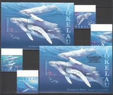 O876 TOKELAU FISH & MARINE LIFE HUMPBACK WHALE AUPEX 97 #244-7 1SET+2BL !!! MICHEL 18 EURO !!! MNH - Baleines