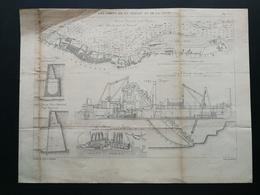 ANNALES DES PONTS Et CHAUSSEES (Angleterre) -  Plan Des Ports De La Mersey Et De La Clyde -1892 Graveur Macquet (CLE51) - Travaux Publics