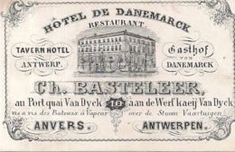 """ANVERS-ANTWERPEN """"HOTEL DE DANEMARCK-CH.BASTELEER""""102/68MM - Cartes Porcelaine"""