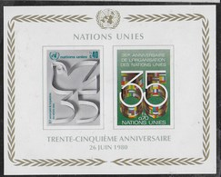 O.N.U. NAZIONI UNITE - GINEVRA - 35° ANNIVERSARIO O.N.U.  1980 - FOGLIETTO NUOVO ** (YVERT BF 02 - MICHEL BL 02) - Ginevra - Ufficio Delle Nazioni Unite