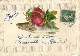 """Carte Gauffrée"""" 1er Avril Avec Chromo De Poisson"""" Belle Carte - Fancy Cards"""