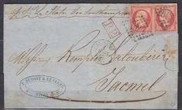 Rare - LAC 2xn24 GC1769 Le Havre- Jacmel (Haiti) 01/03/65. Signée Et Certificat Roumet - 1862 Napoleon III