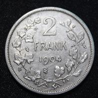 BELGIE LEOPOLD II  2 FRANK  1904    MOOIE  KWALITEIT   2 SCANS - 1865-1909: Leopold II