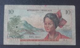 Billet Antilles Françaises 10 Francs Jeune Antillaise - 1964 - D4 Départements GUADELOUPE-MARTINIQUE-GUYANE - French Guiana