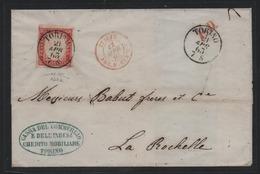 IV: 40 Cent. Rosso Vermiglio Su Lettera Da Torino Per La Rochelle Fta Manzoni BB  (€ 180) - Sardaigne