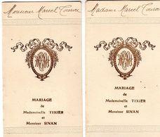 2 Menus De Mariage De Mlle Tixier Avec M. Sinan - - Menus
