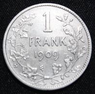 BELGIE LEOPOLD II  1 FRANK  1909    MOOIE  KWALITEIT   2 SCANS - 1865-1909: Leopold II