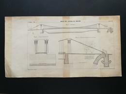 ANNALES DES PONTS Et CHAUSSEES (Dep 75) - Plan De L'Ancien Pont Suspendu Des Invalides - Imp L.Courtier 1898 (CLE61) - Travaux Publics