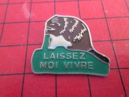 413i Pin's Pins / Beau Et Rare / THEME : ANIMAUX / CASTOR LAISSEZ MOI VIVRE Et Couper Tous Vos Arbres ! - Tiere
