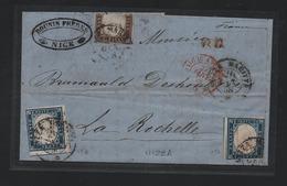 IV: Lettera 1858 Nizza Mar- La Rochelle Con 10c (14c Troncat) + 20cx2 (15A): DIFETTOSA Ma (€ 3.600) - Sardaigne