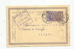 Entier Postal , Belgique, Carte Postale,  MONS ,1922 , 2 Scans - Entiers Postaux