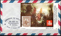 "Bolivia 1985 ** CEFIBOL 1231T  V Centenario Descubrimiento América. ""Colón Descubre América"", Pintura Mauricio Rugendas. - Bolivie"