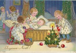 """"""" Joyeux Noel"""" Enfants Sapin Crêche Pommes Et Cadeaux - Fantaisies"""