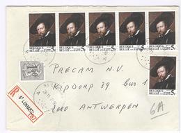1977 Registered, Recommandée, Aangetekend, Einschreiben, Mooie Enveloppe Van St. Lenaarts - 6 X Rubens 5f - Belgien