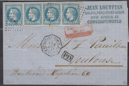 Rare- LSC Bande 4 N29 Obl Ancre Constantinople-Toulouse Cachet Octogonal PAQ.FR.U-N°2. Signée+certificat Roumet - 1863-1870 Napoleone III Con Gli Allori
