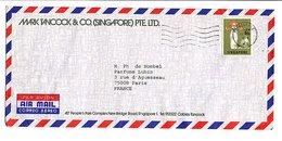 SINGAPOUR LETTRE POUR LA FRANCE 1974 - Singapur (1959-...)