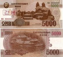 NORTH KOREA     Specimen 5000 Won  (serial Number: 000000)     P-67s        J. 103 / 2013       UNC - Corea Del Nord