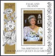Falkland Islands Sc# 657 MNH Souvenir Sheet 1996 Queen Elizabeth II 70th - Falkland Islands