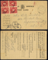 Great Britain Used To Syracuse, NY (4¢ US Postage Due) 1915 5.4 Field Service Post Card - Service
