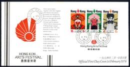 Hong Kong Sc# 298a (HK CXL) FDC (a) UNADRESSED 1974 2.1 HK Arts Festival - Hong Kong (...-1997)