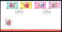 Hong Kong Sc# 615-618 FDC Combination 1992 1.22 Year Of The Monkey - Hong Kong (...-1997)