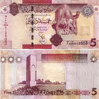LIBYA        5 Dinars       P-77       ND (2011)       UNC - Libia