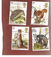 GRAN BRETAGNA (UNITED KINGDOM) -  SG 1039.1043  -  1977 BRITISH  WILDLIFE: ANIMALS    - USED° - Usati