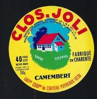 étiquette Fromage Camembert Clos Joli  40%mg Laiterie Coop Du Chateau Puyréaux  16 Charente - Quesos