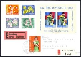 Switzerland Sc# B318-B323 FDC (b) REGISTERED 1962 Apple Blossoms & Children - Switzerland