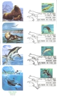 USA Sc# 2508-2511 (Fleetwood) FDC Set/4 (Baltimore, MD) 1990 10.3 Marine Mammals - First Day Covers (FDCs)