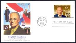 USA Sc# 2513 (Fleetwood) FDC (Abilene, KS) 1990 10.13 Dwight D. Eisenhower - First Day Covers (FDCs)