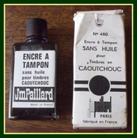 Flacon Verre Encre à Tampon Plein 7,5 X 3,2 Cm Avec Sa Boîte Carton JM Paillard N° 480 - Inkwells