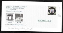Pseudo Entier . Projet Pour L'Association Philatélique Phil'éa France Algérie 1976 -1996 .XX° Anniversaire - Entiers Postaux