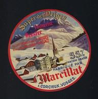 étiquette Fromage  Munster Super Des Neiges 55%mg Fabriqué Par Marcillat Corcieux Vosges 88 - Quesos