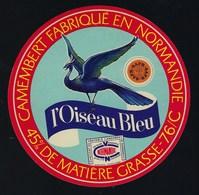 étiquette Fromage  Camembert L'oiseau Bleu Normandie SAFR 45%mg 76-C Seine Maritime - Quesos