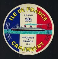"""étiquette Fromage  Camembert Ile De France 14-U """" Bateau"""" Export - Quesos"""