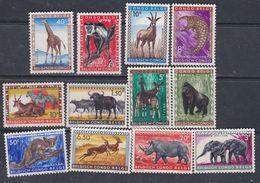 Congo Colonie Belge N° 350 / 61 XX Série Courante : Animaux Sauvages: La Série Des 12 Valeurs  Sans Charnière, TB - Congo Belge