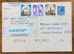 CARTOLINA POSTALE TARIFFA RIDOTTA L. 60 + CASTELLI 10+50+180  VIAGGIATA IL 7/9/83 - 6. 1946-.. Republic