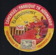 """étiquette Fromage Camembert Normandie """"La Renaissance"""" SAFR Fromagerie De Gratheuil Eure """"Reine, Trone, Fromage"""" - Quesos"""