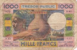BILLET 1000 FRANCS - DJIBOUTI - TERRITOIRE FRANCAIS DES AFARS ET DES ISSAS 1952 - Djibouti