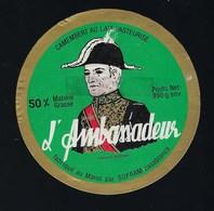 étiquette Fromage Camembert  L'Ambassadeur  Fabriqué Par Sofram Casablanca Maroc - Quesos