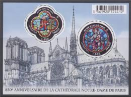 = Bloc 850ème Anniversaire De La Cathédrale Notre-Dame De Paris F4714 Vitraux, 1.05€ Et 1.55€ 4714 & 4715 - Neufs