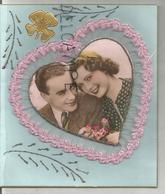 """Collage De Couple Dans Un Cœur. Broderie, Paillettes, Trèfle Doré:""""Mon Plus Doux Souvenir, Mes Meilleures Pensées ..."""" - Brodées"""