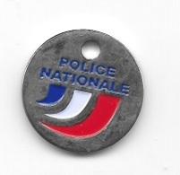 Jeton De Caddie  Argenté  Tricolore  POLICE  NATIONALE  Verso  RECRUTEMENT - Jetons De Caddies