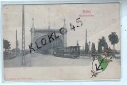 67 Kehl Rheinbrücke - Pont Métallique Strasbourg - Tramway - Cachet Tampon Embouti Ancre étoiles  - CPA  Généalogie - Strasbourg