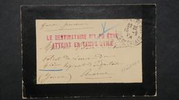 """Lettre De Berck 15 Aout 1914 Pour Auxerre Griffe """" Le Destinataire N'a Pu être Atteint ..""""  Soldat Du 4e D'Infanterie - WW I"""